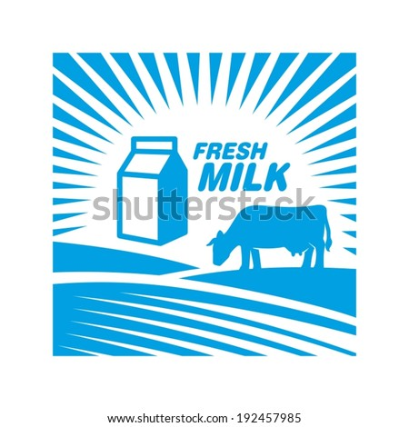 Milk label with cow