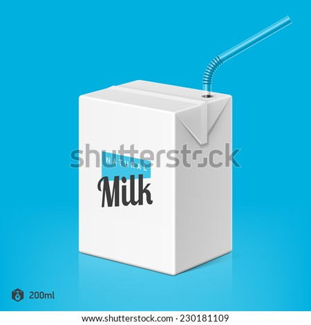 Milk or juice package with drinking straw template, 200ml. Vector. - stock vector