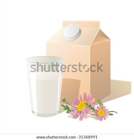 milk or yogurt package - stock vector