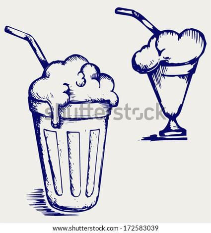 Milk shake. Doodle style - stock vector