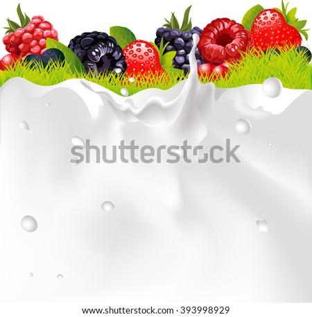 Milk Splash Background, Fruit Berries And green Grass vector - stock vector