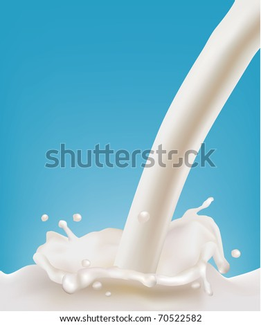 Milk splash on blue background. Vector illustration.