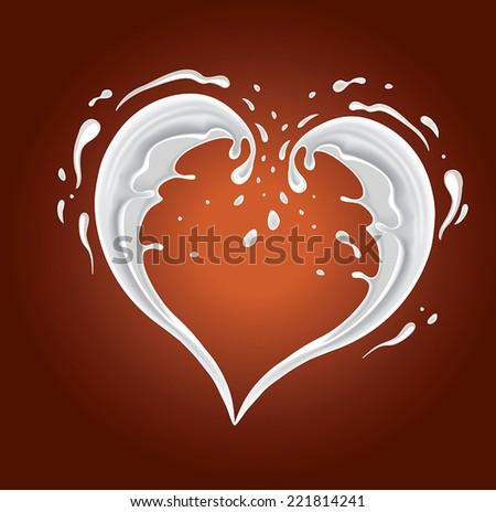 milk splash shape heart on chocolate background  - stock vector