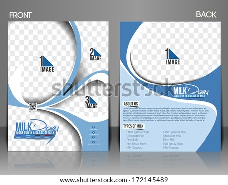 Milk Store Front & Back Flyer Template. - stock vector