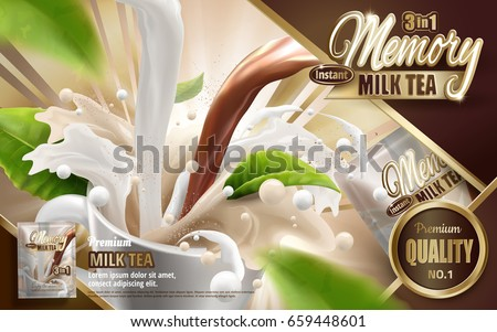 milk tea instant drink ad, with pouring tea and milk, with flying tea leaf elements, 3d illustration