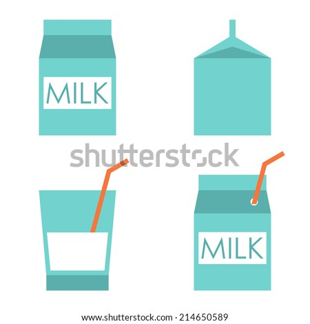 Milk vector icons set. Milk box icon - stock vector