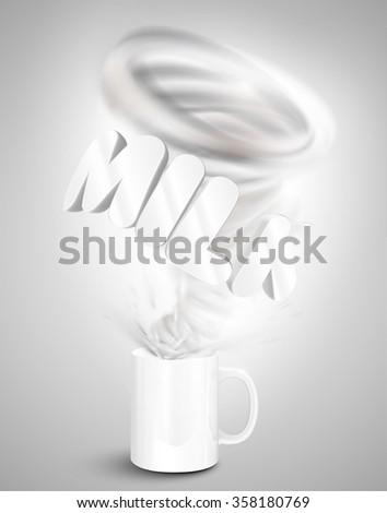 Milk yogurt/drink in a cup, realistic vector illustration - stock vector