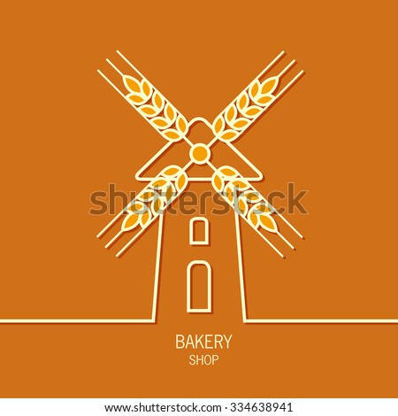 Mill bakery label logo design. Windmill and wheat ears. Mill symbol. Agriculture landscape.  - stock vector