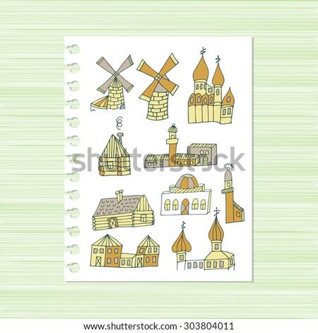 Mill, cottage, lighthouse. Set. Sketch. Doodle - stock vector