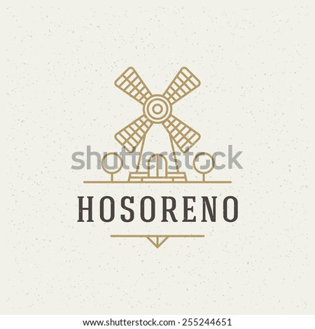 Mill Design Element in Vintage Style for Logotype, Label, Badge, T-shirts and other design. Bakery Shop retro vector illustration. - stock vector