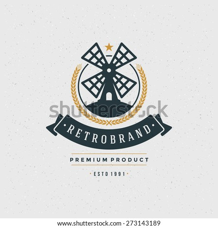 Mill Logo Design Element in Vintage Style for Logotype, Label, Badge and other design. Bakery Shop retro vector illustration. - stock vector