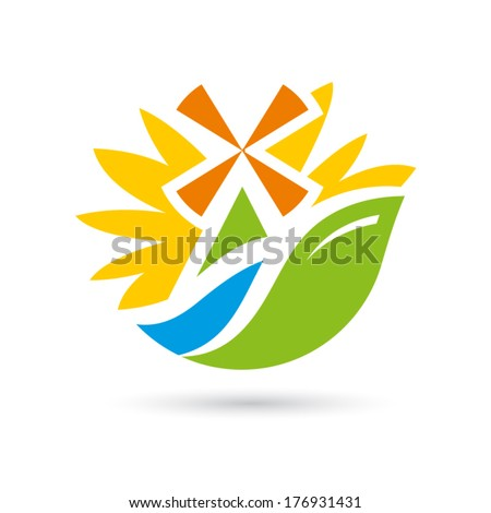 Mill on the river sunflower Branding Identity Corporate vector logo design template Isolated on a white background - stock vector