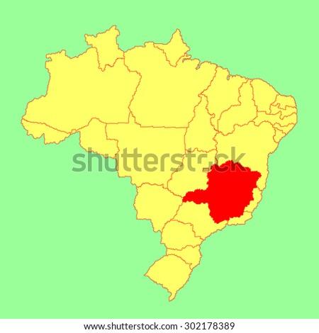 Minas Gerais, Brazil, vector map isolated on Brazil map. Editable vector map of Brazil.  - stock vector