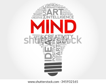 MIND bulb word cloud concept - stock vector