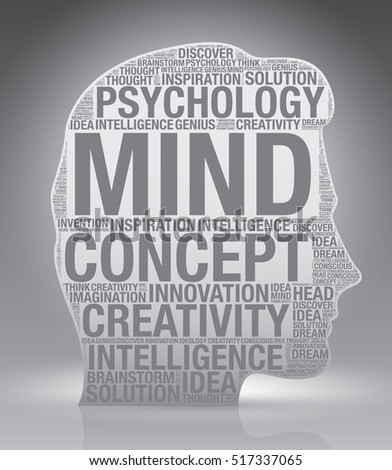 Mind head of man with word cloud, vector concept