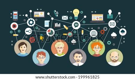 Mind Map Team - Illustration - stock vector