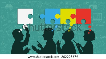 Mind Map Team - vector Illustration. Business people group over conceptual. Silhouettes of people on a background of business icons. - stock vector