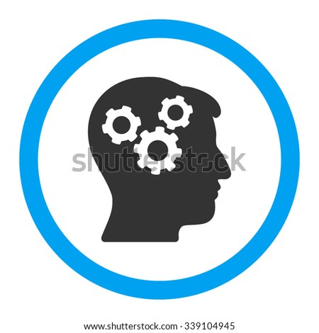 Mind vector icon. Style is bicolor flat rounded symbol, blue and gray colors, rounded angles, white background. - stock vector