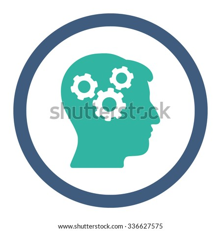 Mind vector icon. Style is bicolor flat rounded symbol, cobalt and cyan colors, rounded angles, white background. - stock vector