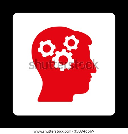 Mind vector icon. Style is flat rounded square button, red and white colors, black background. - stock vector