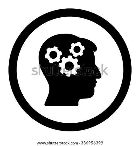 Mind vector icon. Style is flat rounded symbol, black color, rounded angles, white background. - stock vector