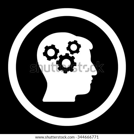 Mind vector icon. Style is flat rounded symbol, white color, rounded angles, black background. - stock vector