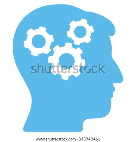 Mind vector icon. Style is flat symbol, blue color, rounded angles, white background. - stock vector