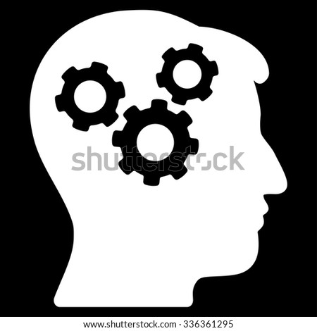 Mind vector icon. Style is flat symbol, white color, rounded angles, black background. - stock vector