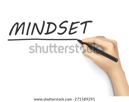 mindset word written by hand on white background - stock vector