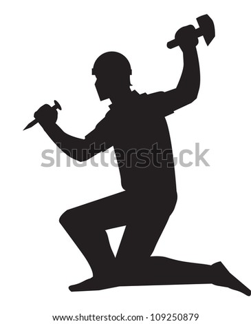 Mine worker, using a chisel and hammer, black silhouette, vector illustration - stock vector