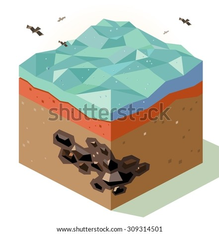 Mineral Coal offshore reserve. isometric art - stock vector