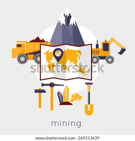 Mineral mining, black mining, coal industry. Machinery for mining against the backdrop of the mountains. Flat design vector illustration. - stock vector