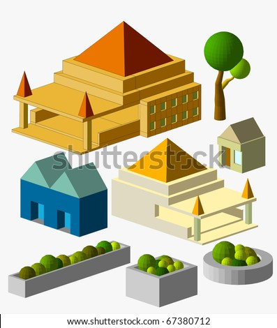 mini building isometric. very detail isometric, see the others - stock vector
