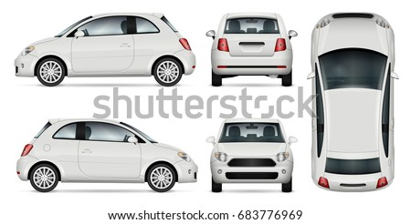 Mini car vector template for car branding and advertising. Isolated minicar set on white background. All layers and groups well organized for easy editing and recolor. View from side, front, back, top