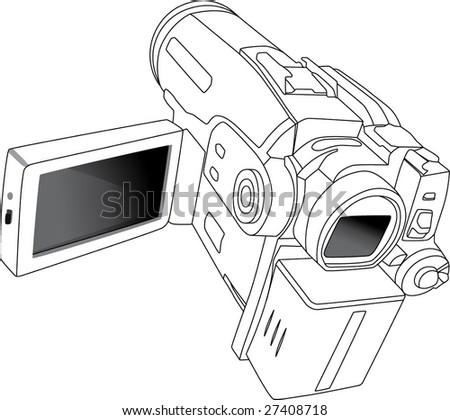 Mini DV camcorder - stock vector