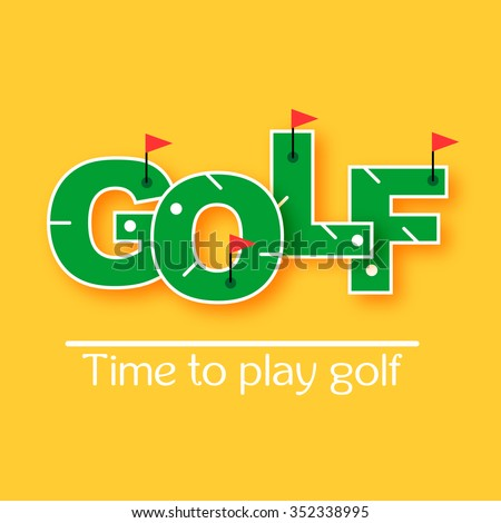 Mini golf text vector illustration . Time to play golf - stock vector
