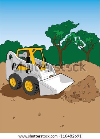 Mini Tractor clearing field for construction - stock vector