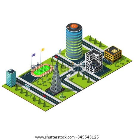 Miniature isometric city map. Crossroads and road markings illustration. Office building, police department and mobile tower illustration.