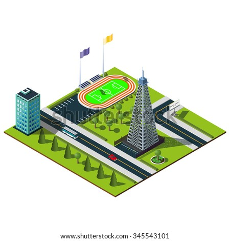 Miniature isometric city. Stadium and mobile tower illustration.