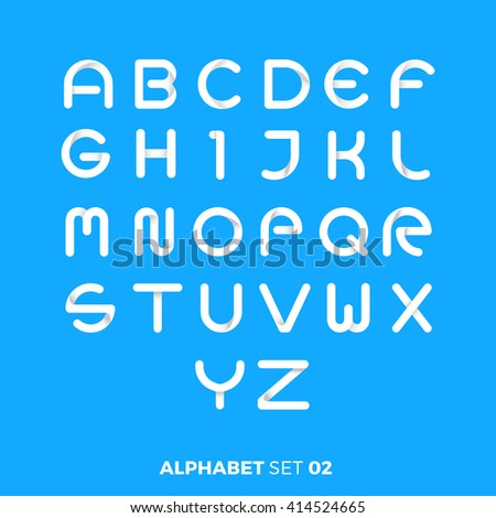 Minimal Abstract Simple alphabet typography letter set 02 - stock vector