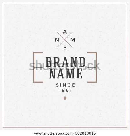 Minimal and Clean Vintage Hipster Logotype Template - stock vector