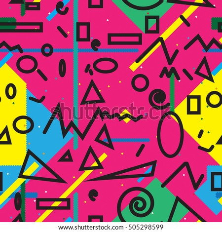 minimal background. Seamless pattern 80's - 90's years memphis design . vector illustration .