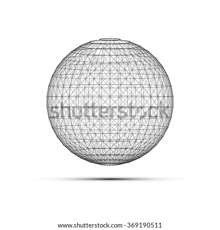 Minimal Black and White 3D Globe | EPS10 Design Layout for Your Business - stock vector