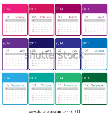Minimal calender 2014 year vector colourful - stock vector