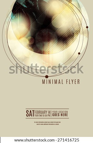 Minimal circle geometric flyer or poster template design - stock vector