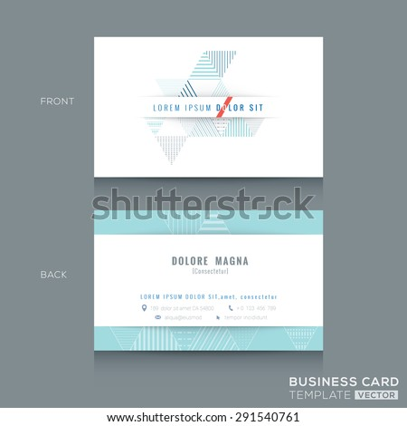 Minimal clean Abstract triangle stripe shape design business card Template - stock vector