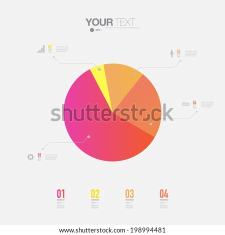 Minimal colorful percentage diagram design  can be used for workflow layout, number options, web design.  Eps 10 stock vector illustration - stock vector