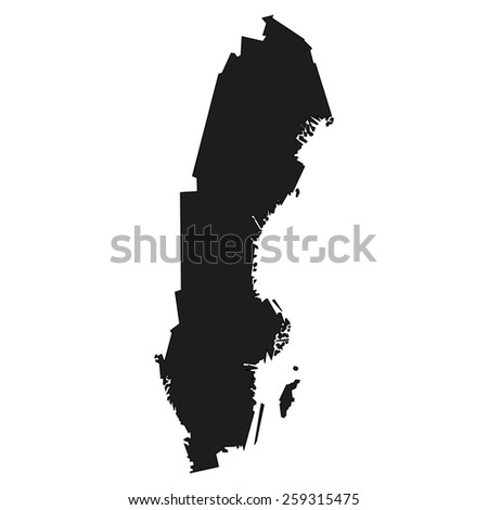 Minimal concept of the geographical map of Sweden - stock vector