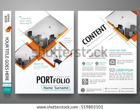 Minimal cover book portfolio presentation layout.Orange abstract square brochure design report business flyers magazine poster.Portfolio design template vector layout.City design on A4 brochure layout