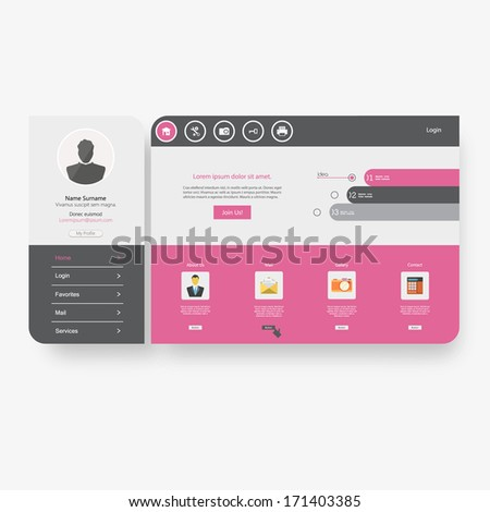 Minimal Flat Website Design - stock vector